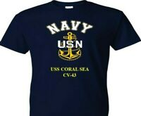 USS  CORAL SEA  CV-43  VINYL & SILKSCREEN NAVY ANCHOR SHIRT.
