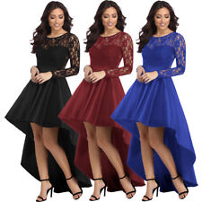 Celebrity Style Sexy Long Sleeve Lace High Low Satin Prom Evening Party Dress