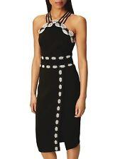 KAREN MILLEN BLACK LACE TRIM PENCIL DRESS NWT! $270 US6 UK10