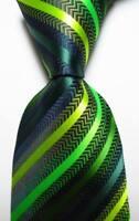 New Classic Striped Black Blue Green JACQUARD WOVEN 100% Silk Men's Tie Necktie