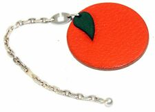 Authentic Hermes Orange Leather Key Silver Tone Chain Bag Charm Fruit Design