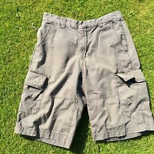 """Men's shorts by CHISEL size 85 faded brown Cargo combat W 32"""" L 12"""" zip fly."""