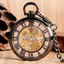Vintage Mechanical Men Women Pocket Watch Black Skeleton Open Face Roman Numbers