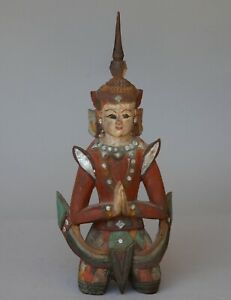 "Vintage PRAYING THAI BUDDHA Carved & Painted Wood Figure 14"" Tall"