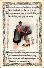Woman at Cook Stove, The Fire of Love Vintage Postcard E16