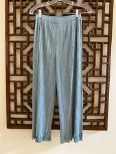 NWOT PLEATS PLEASE ISSEY MIYAKE Blue Pleated Wide Leg Fringe Cropped Pants | 3