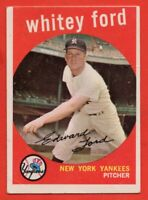 1959 Topps #430 Whitey Ford VG-VGEX+ CREASE HOF New York Yankees FREE SHIPPING