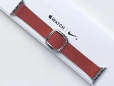 GENUINE APPLE WATCH MODERN LEATHER BUCKLE - RUBY (PRODUCT) RED 38/40mm Large