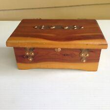 Vintage Cedar Wood Copper Trinket Box Jewelry Box