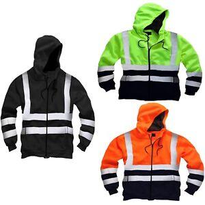 Hi Viz High Visibility Mens Work Hoodie Reflective Fleece Safety Worker Jacket