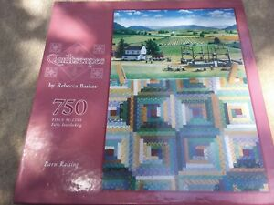 Quiltscapes Barn Raising 750 Piece Puzzle By Rebecca Barker, NEW 1999