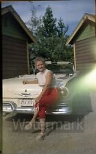 1950s color photo negative Lady sitting on car  Ford Fairlane Illinois Plate