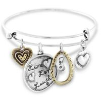 NEW Live Love Laugh Wire Bangle Charm Bracelet Silver Tone with Two Tone Hearts