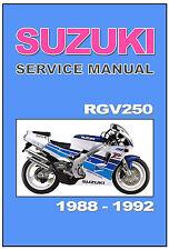 SUZUKI  Workshop Manual RGV250 Gamma 1988 1989 1990 1991 and 1992 SERVICE