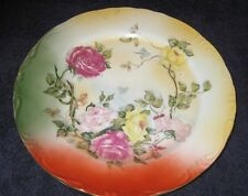 Vintage 1980s reproduction import RS Prussia Plate Pink Red Yellow Roses green