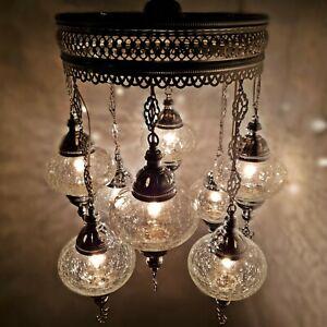 Turkish Moroccan Ottoman Glass Mosaic Silver Chandelier Lamp Light 8 Bulb