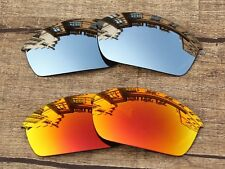 Silver Chrome & Fire Red Polarized Replacement Lenses For-Oakley Flak Jacket
