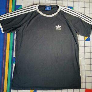 Adidas Classic Retro Look Mens Black Short Sleeve T-shirt Tee Mens Size XXL 2XL