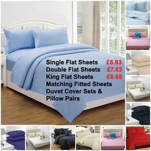 Flat sheets Percale Plain Dyed Luxury Combed Poly Cotton Single Double King size
