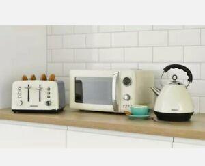 Daewoo Kensington 1.7L Kettle, 4 Slice Toaster & 20L Microwave Set - Cream