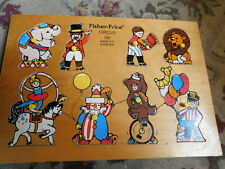 Vtg Fisher Price Circus peg peek a boo Wooden Puzzle 8 Pc 516 Elephant Lion Bear