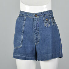 Large Levis Panatela Denim Mini Shorts Vintage 1970s Short Blue Jeans Pockets