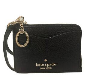 Kate Spade Leila Leather Small Card Key Ring ID Wristlet Wallet L Zip Black NEW