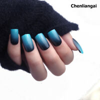 24pcs Stylish Glitter Powder Gradient Blue Nail Art False Nails Long Full Cover