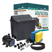 Small Fish Pond Filter Box Optonal Pump / UV Steriliser / Hose / Clips < 6000L