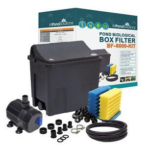 Small Fish Pond Filter Box Optional Pump / UV Steriliser / Hose / Clips < 6000L