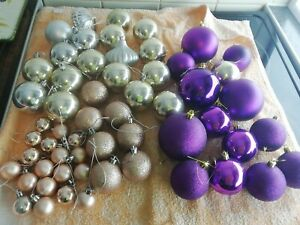 Christmas Baubles Joblot Purple /Silver/Rose Gold/Gold