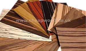 Wood Veneer Samples - Ebony Oak Walnut Olive Rosewood Maple Mahogany Teak Wenge