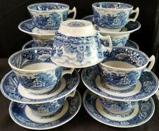 Wood & Sons Woodland Blue Cups and Saucers 21 pieces England