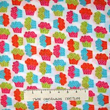 Food Baking Fabric - Sweetshop Rainbow Cupcakes on White - Springs YARD