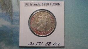 1958 FIJI ISLANDS - 1958 FLORIN - COLONIAL ERA - PREDECIMAL COIN. Copper/Nickel.