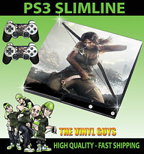Playstation Ps3 Slim Adesivo Lara Croft Tomb Raider pelle & 2 x di Pad