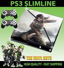 PLAYSTATION PS3 SLIM STICKER LARA CROFT TOMB RAIDER SKIN STICKER & 2 X PAD SKINS