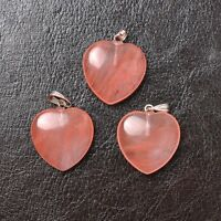 Natural Gemstones heart-shaped Chakra Pendants Necklace Earrings 20MM
