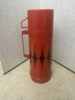 Aladdin Thermos Red and Black Plaid Checkered 1 Quart Vintage Made in USA