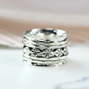 BMWT 925 STERLING SILVER FLOWER STAMP SPINNING RING - ORDER ANY SIZE L-T