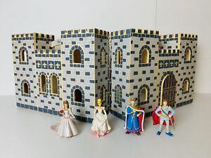 Melissa & Doug Fold & Go Blue Wooden Castle + 4 Figurines Good Condition