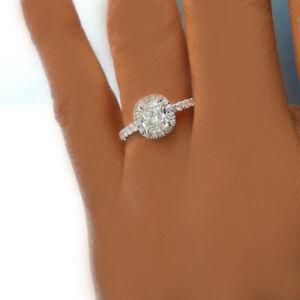GIA Certified Diamond Engagement Ring 1.48 carat Cushion Cut 14k White Gold