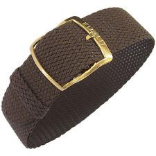 16mm EULIT Kristall Brown Woven Nylon Perlon GOLD Buckle German Watch Band Strap
