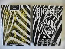 Rare Bicycle Zebra Deck Playing Cards Skin Back Design Magic Black White Striped