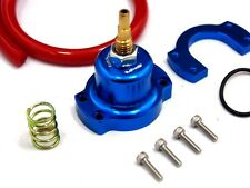 HONDA ACURA RACING ADJUSTABLE FPR FUEL PRESSURE REGULATOR RISER GAUGE KIT BLUE