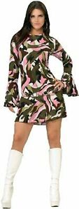 70'S FANCY DRESS COSTUME ~ 60/70'S CAMO GOGO DRESS M