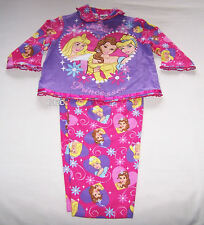 Disney Princess Girls Pink Purple Printed Flannel Pyjama Set Size 2 New