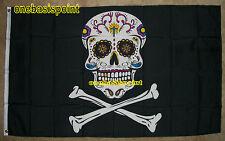 3'x5' Pirate Sugar Skull Flag Jolly Roger Banner Cross Bones Day of the Dead 3X5