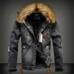 Men's Retro Ripped Jacket with Fur Denim Collar Fleece Jeans Outerwear Coat New