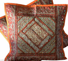 PAIR OF HAND CRAFTED ANTIQUE DRESSES PATCHES PILLOW/CUSHION COVER FROM INDIA!!